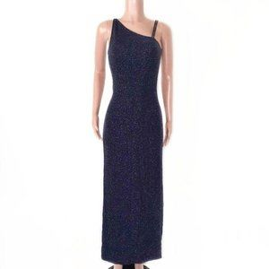 Cache Dark Blue Glitter Formal Evening Maxi Dress